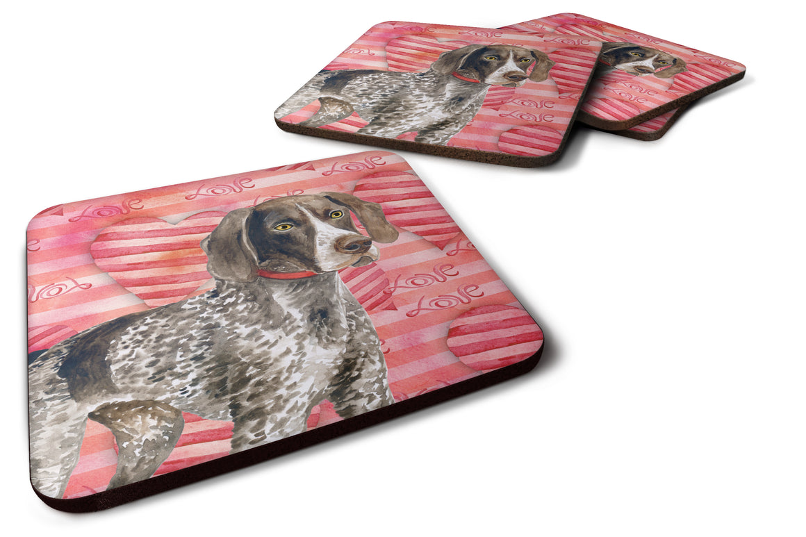 Buy this German Shorthaired Pointer Love Foam Coaster Set of 4 BB9728FC