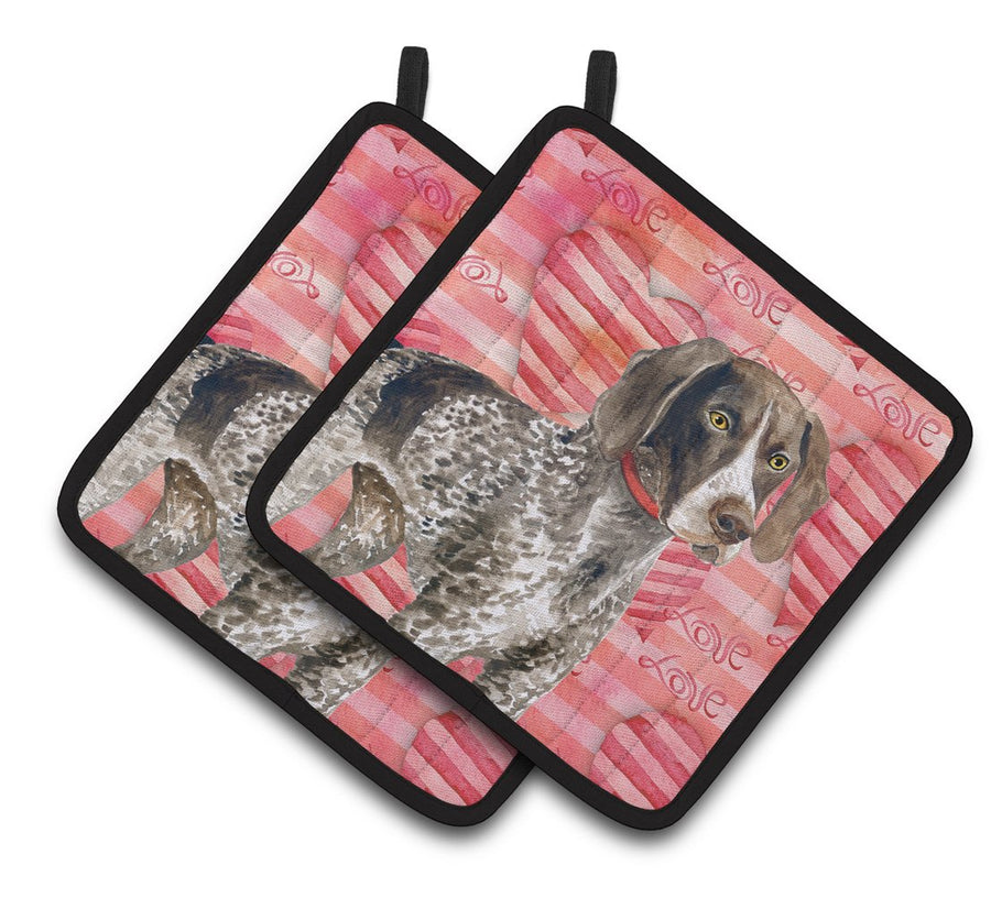 Buy this German Shorthaired Pointer Love Pair of Pot Holders BB9728PTHD