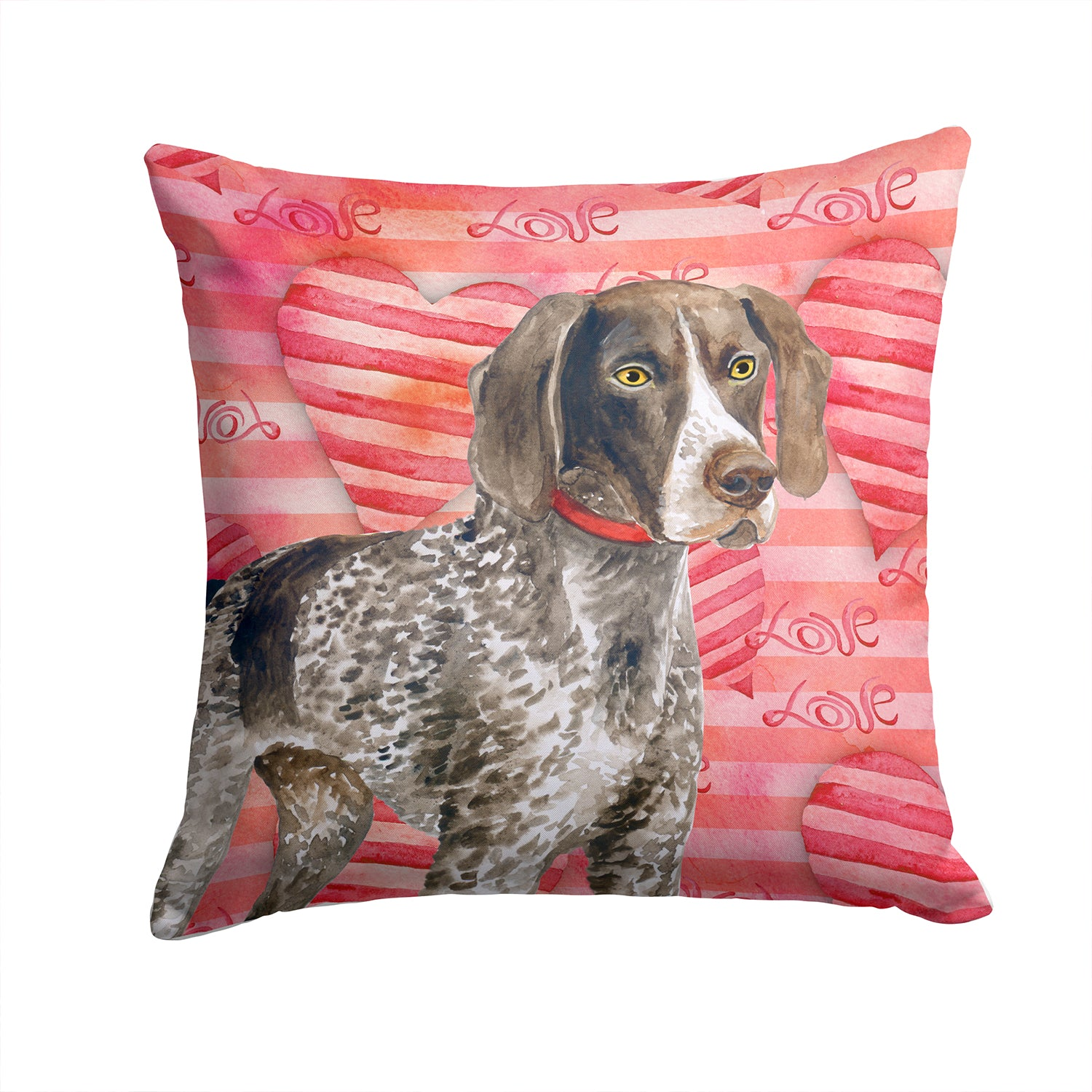 Buy this German Shorthaired Pointer Love Fabric Decorative Pillow BB9728PW1414