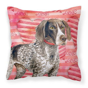 Buy this German Shorthaired Pointer Love Fabric Decorative Pillow BB9728PW1818