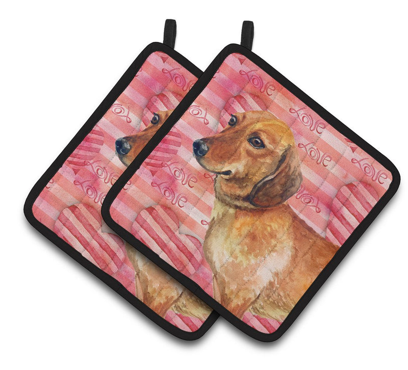 Buy this Dachshund Love Pair of Pot Holders BB9739PTHD
