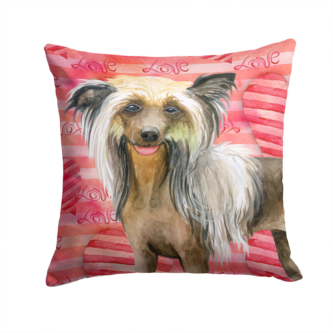 Buy this Chinese Crested Love Fabric Decorative Pillow BB9746PW1414