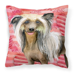 Buy this Chinese Crested Love Fabric Decorative Pillow BB9746PW1818