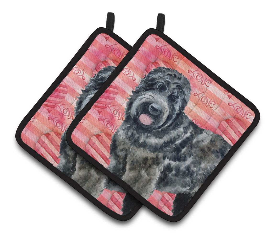 Buy this Black Russian Terrier Love Pair of Pot Holders BB9764PTHD