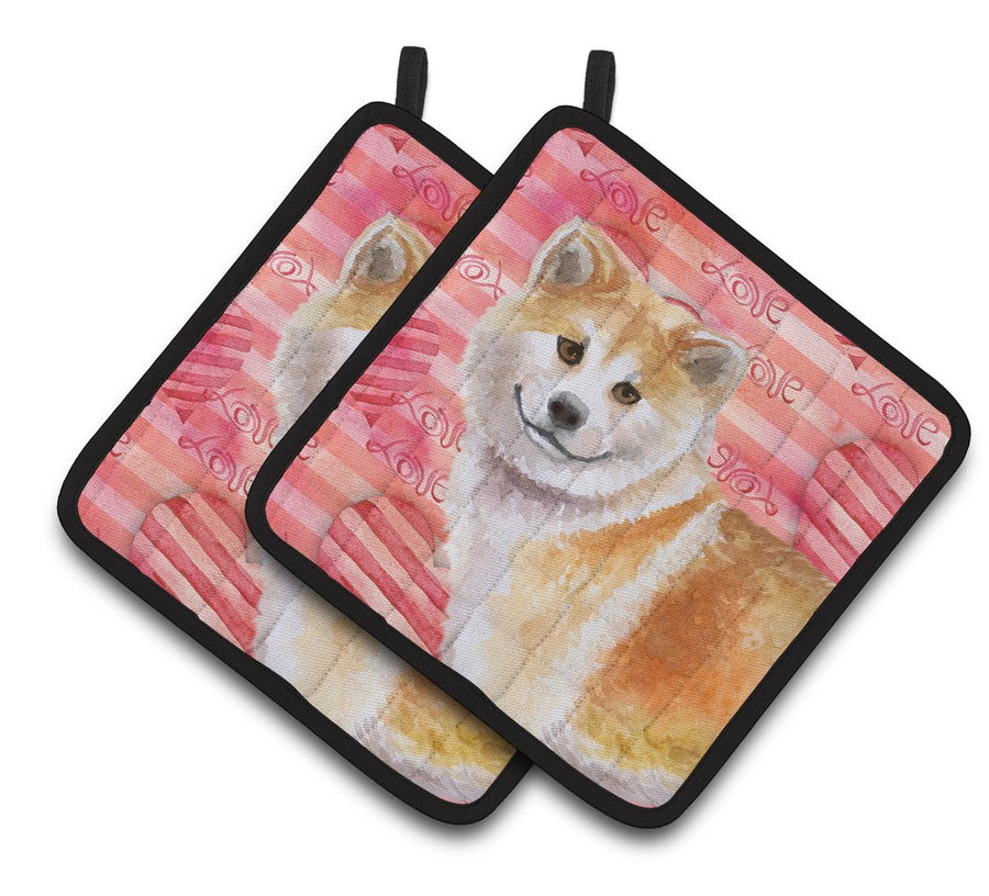 Buy this Shiba Inu Love Pair of Pot Holders BB9765PTHD