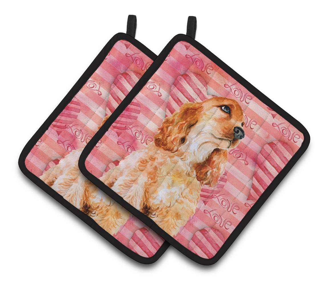 Cocker Spaniel Love Pair of Pot Holders BB9793PTHD by Caroline's Treasures