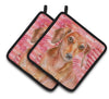 Buy this Red Dachshund Love Pair of Pot Holders BB9794PTHD