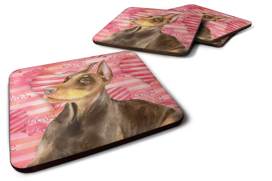 Buy this Doberman Pinscher Love Foam Coaster Set of 4 BB9796FC