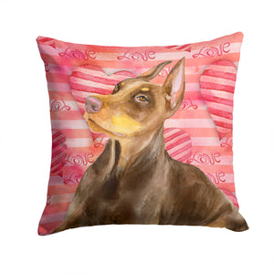 Buy this Doberman Pinscher Love Fabric Decorative Pillow BB9796PW1414