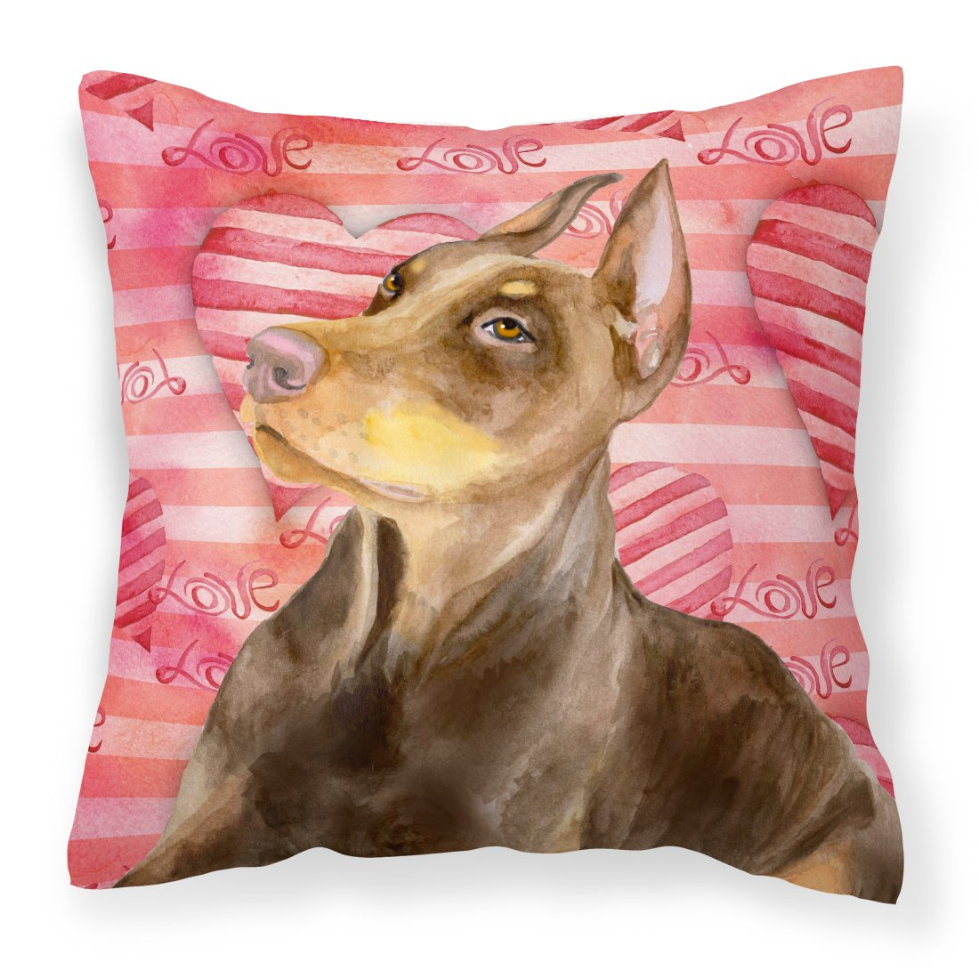Buy this Doberman Pinscher Love Fabric Decorative Pillow BB9796PW1818