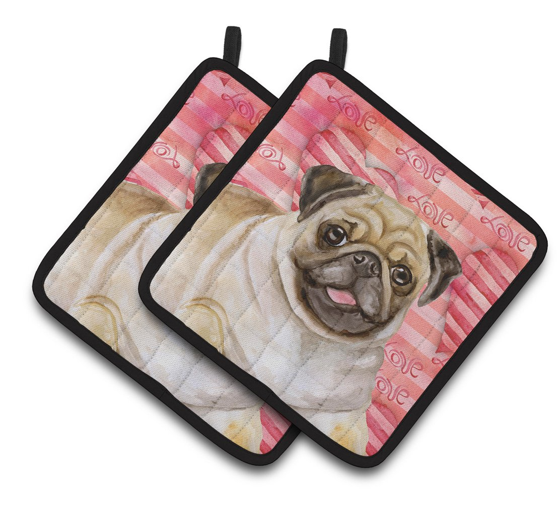 Fawn Pug Love Pair of Pot Holders BB9805PTHD by Caroline's Treasures