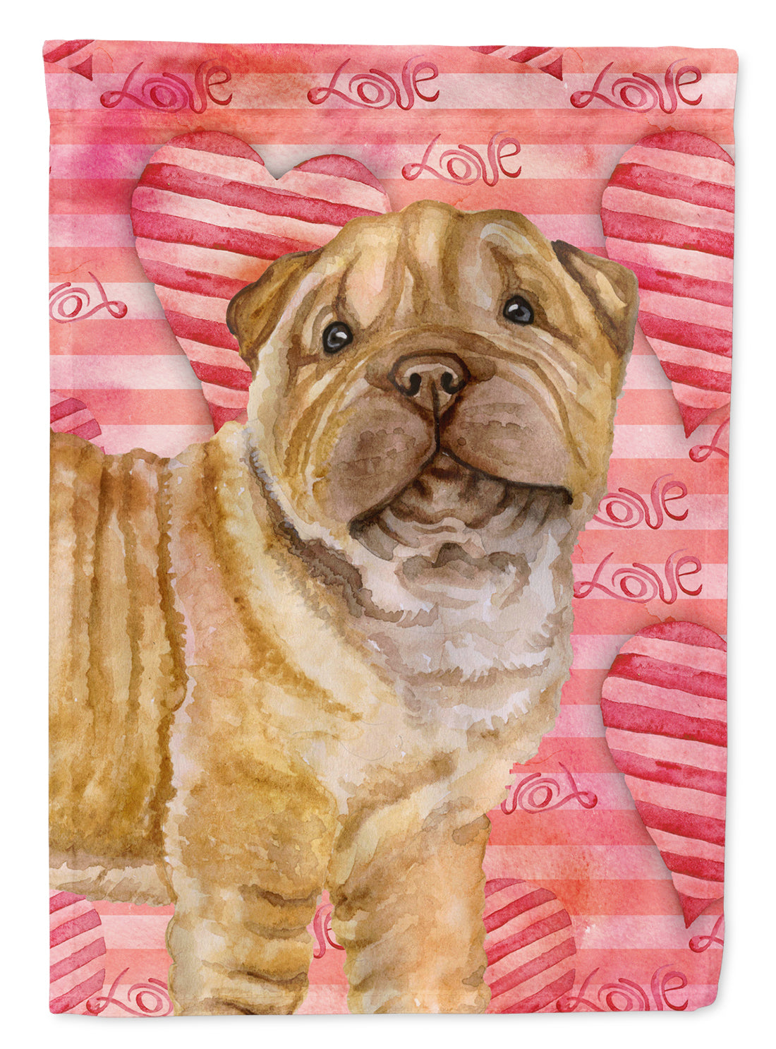 Shar Pei Puppy Love Flag Canvas House Size BB9806CHF by Caroline's Treasures