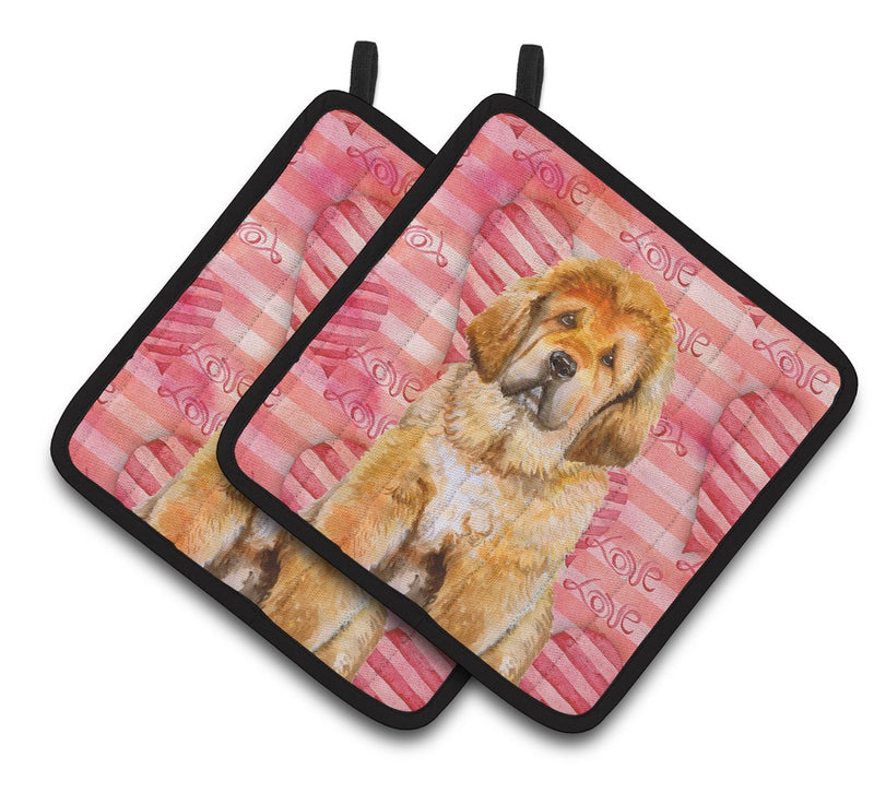 Buy this Tibetan Mastiff Love Pair of Pot Holders BB9808PTHD
