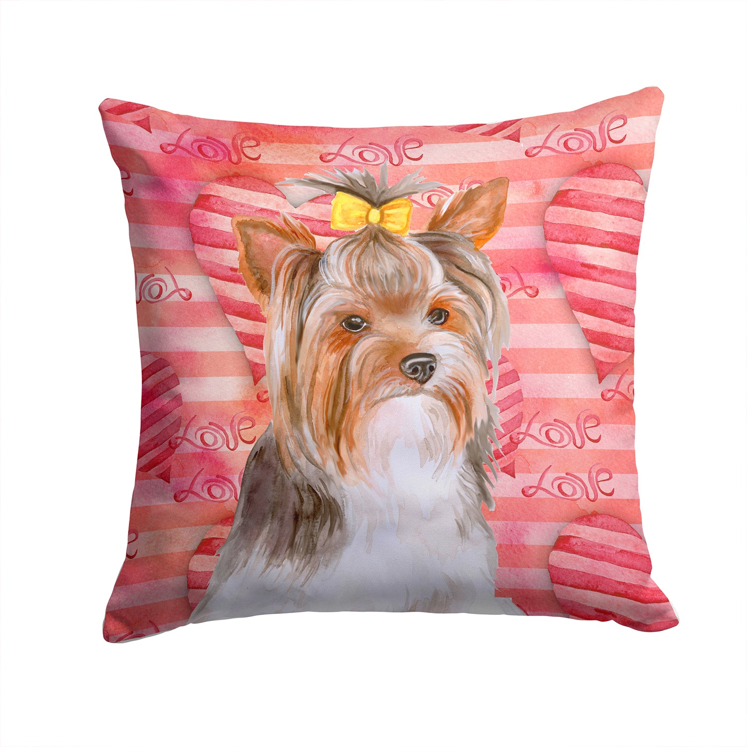 Buy this Yorkshire Terrier #2 Love Fabric Decorative Pillow BB9810PW1414