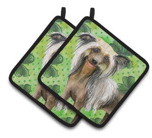 Buy this Chinese Crested St Patrick's Pair of Pot Holders BB9833PTHD