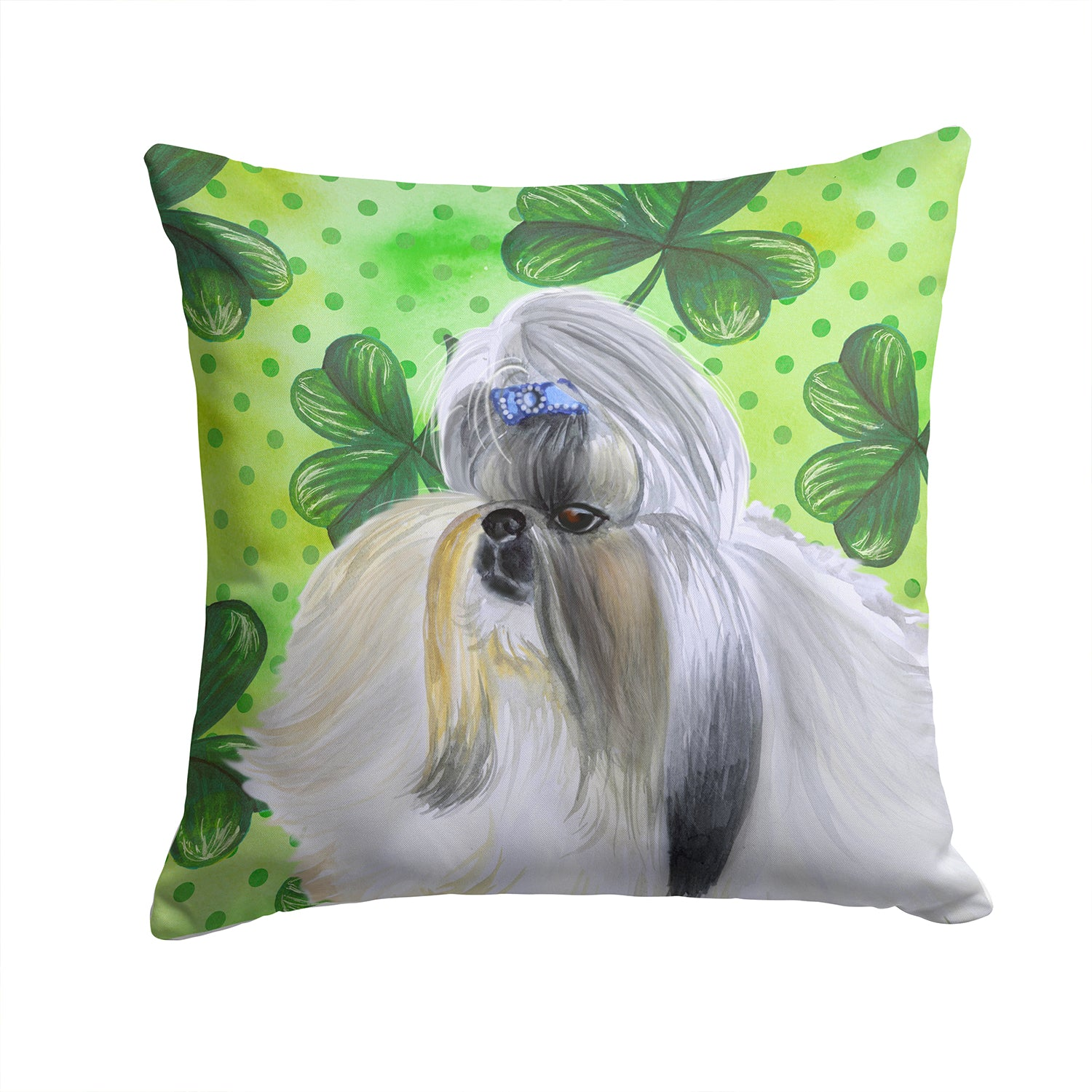Buy this Shih Tzu St Patrick's Fabric Decorative Pillow BB9840PW1414