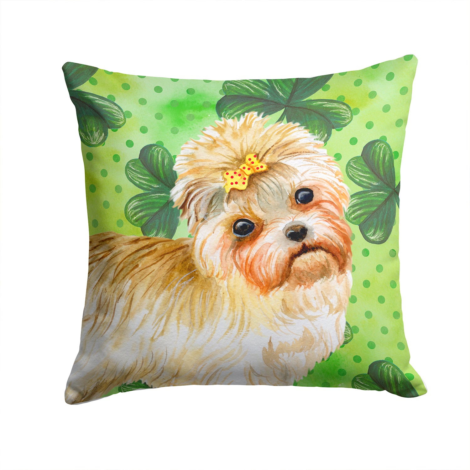 Buy this Morkie St Patrick's Fabric Decorative Pillow BB9842PW1414