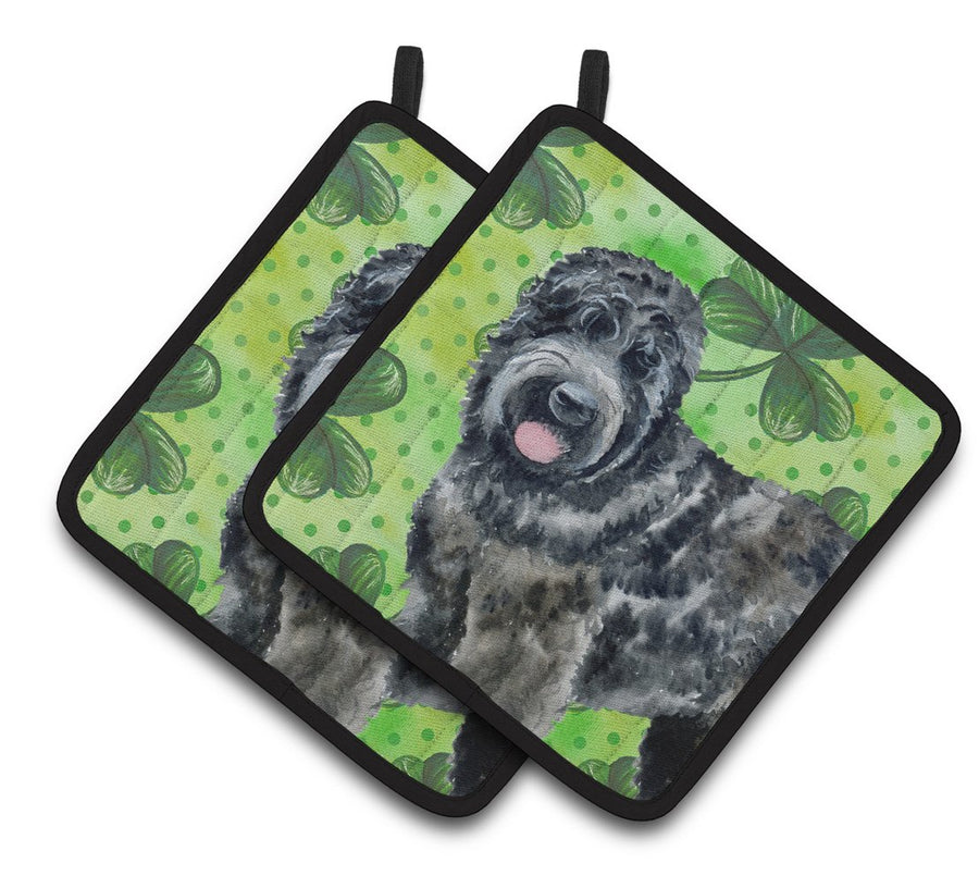 Buy this Black Russian Terrier St Patrick's Pair of Pot Holders BB9851PTHD