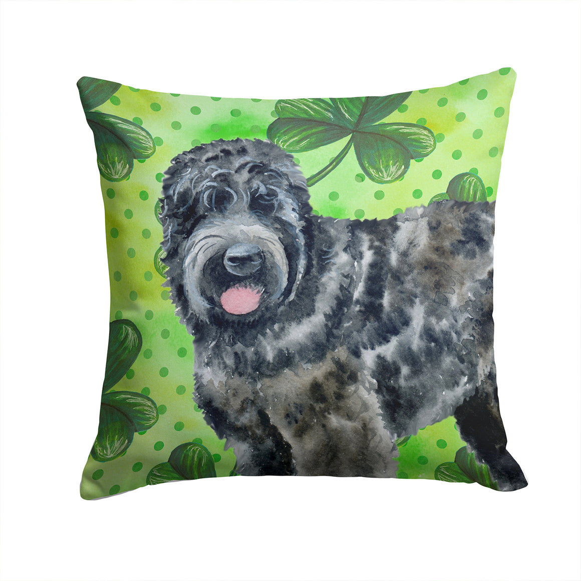 Buy this Black Russian Terrier St Patrick's Fabric Decorative Pillow BB9851PW1414