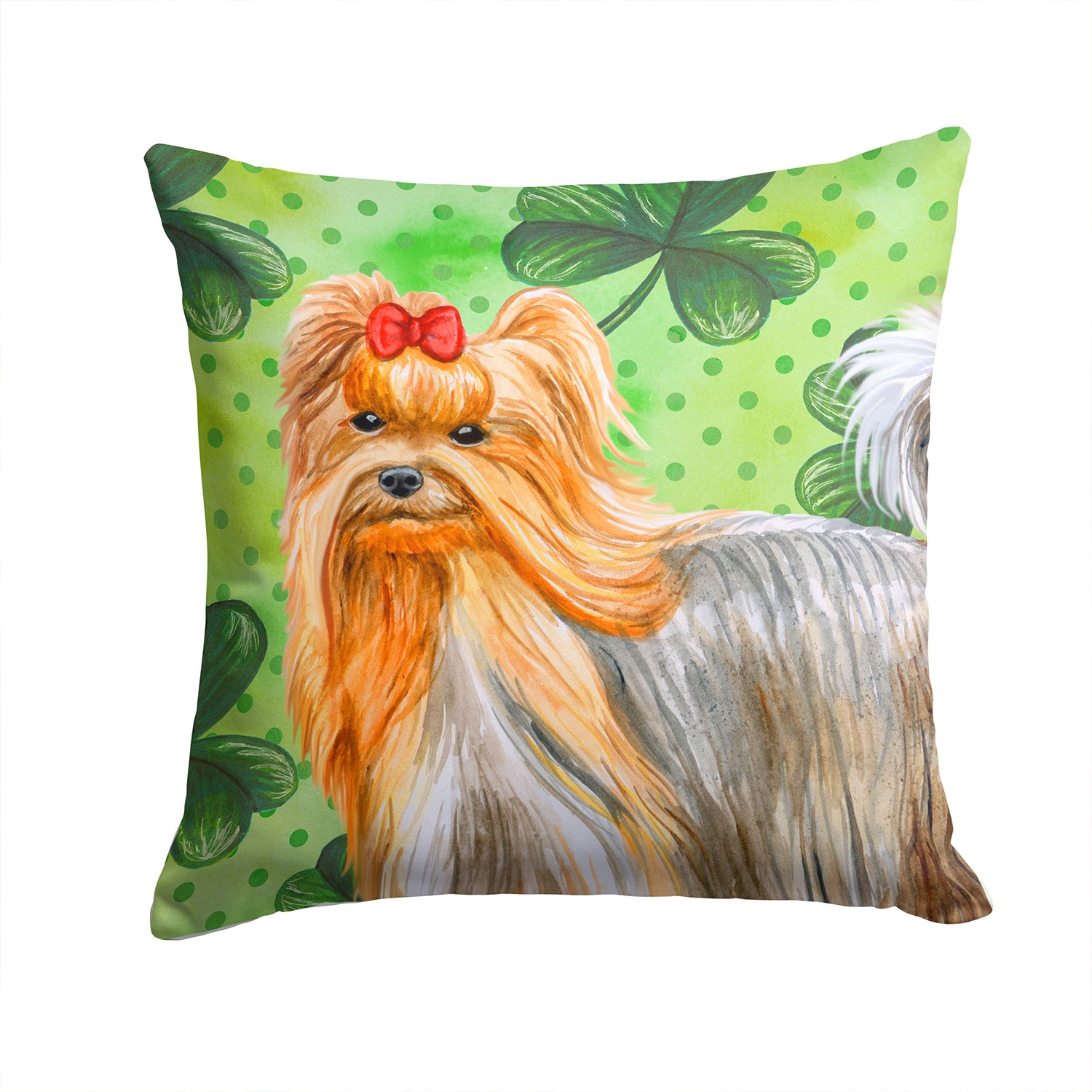Buy this Yorkshire Terrier St Patrick's Fabric Decorative Pillow BB9859PW1414