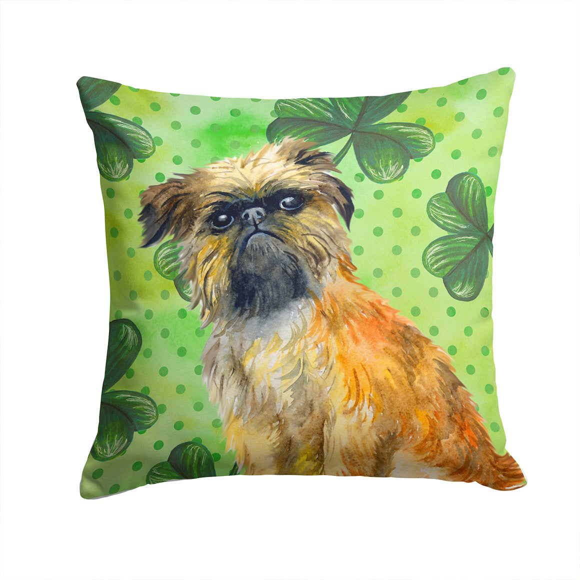 Buy this Brussels Griffon St Patrick's Fabric Decorative Pillow BB9861PW1414