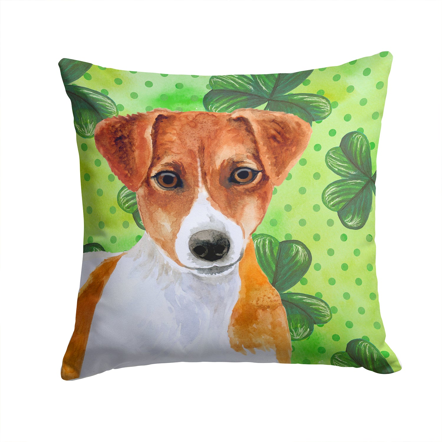 Buy this Jack Russell Terrier St Patrick's Fabric Decorative Pillow BB9863PW1414
