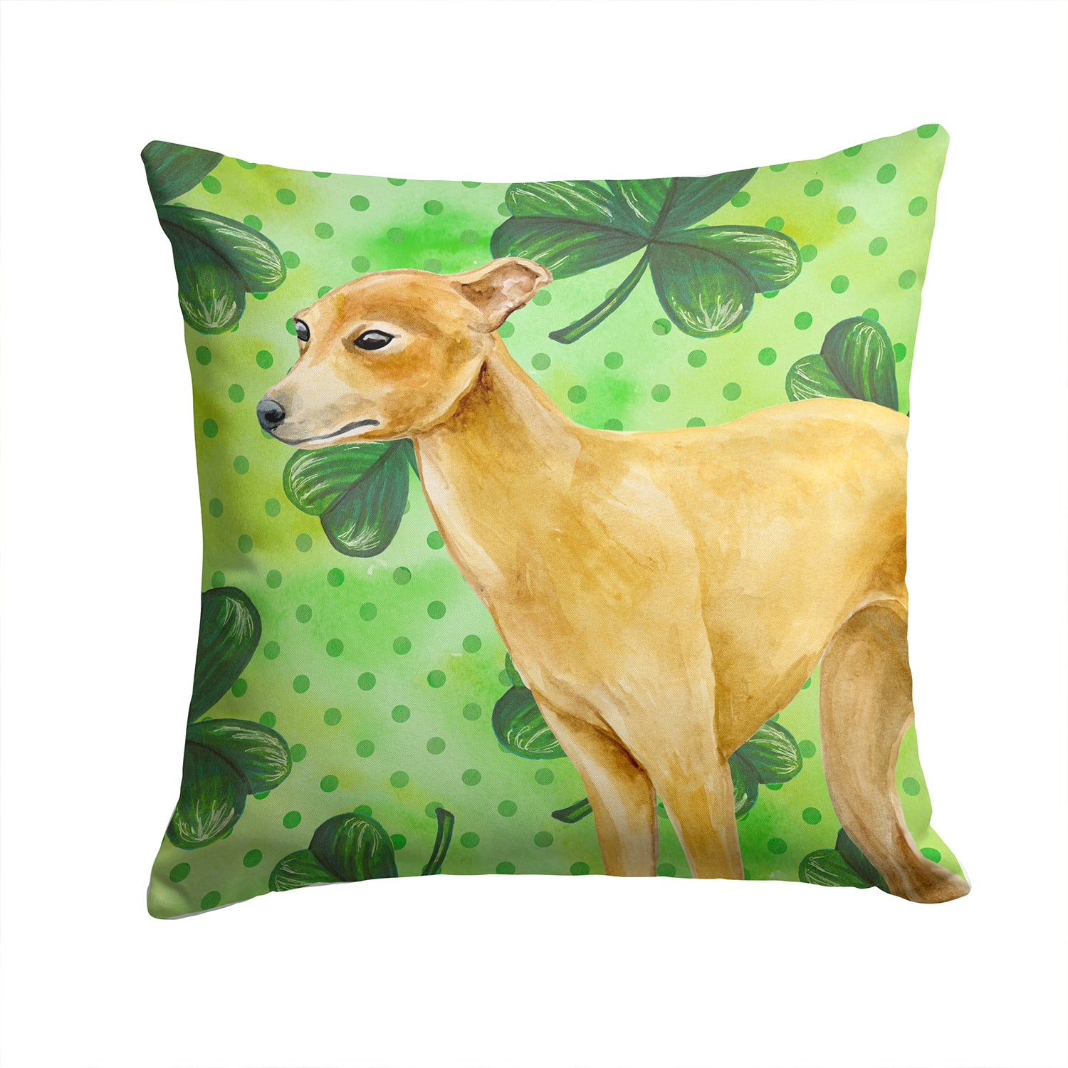 Buy this Italian Greyhound St Patrick's Fabric Decorative Pillow BB9872PW1414