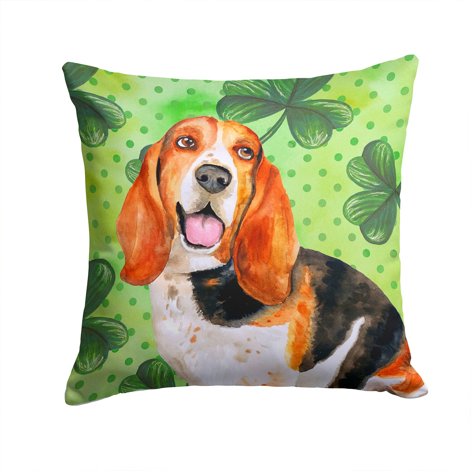 Buy this Basset Hound St Patrick's Fabric Decorative Pillow BB9878PW1414