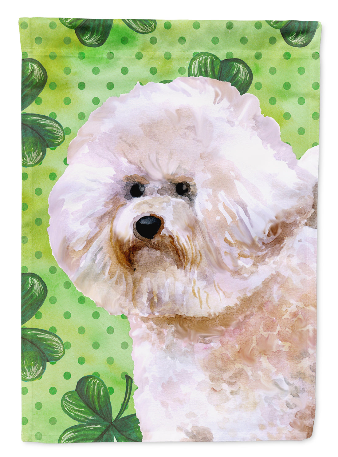 Bichon Frise #2 St Patrick's Flag Canvas House Size BB9879CHF by Caroline's Treasures