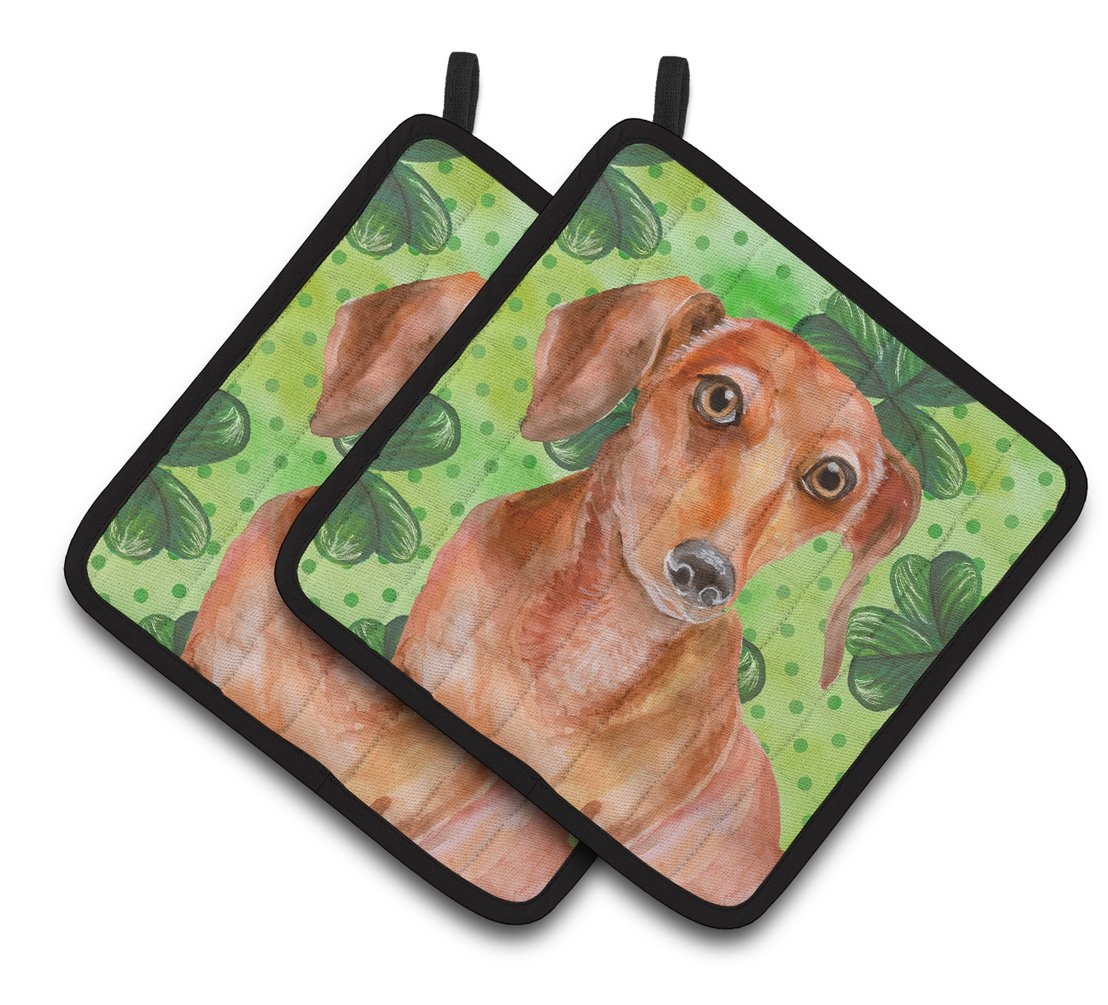 Buy this Red Dachshund St Patrick's Pair of Pot Holders BB9881PTHD