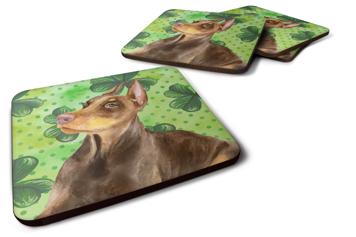 Buy this Doberman Pinscher St Patrick's Foam Coaster Set of 4 BB9883FC