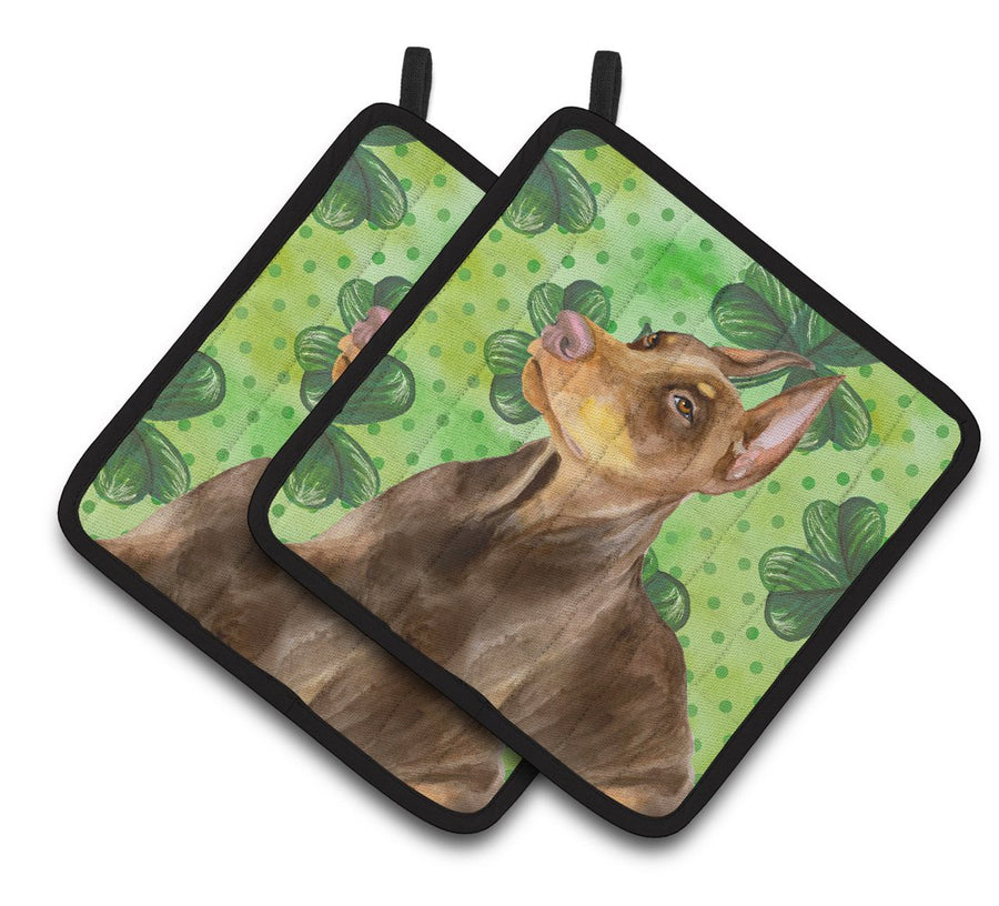 Buy this Doberman Pinscher St Patrick's Pair of Pot Holders BB9883PTHD