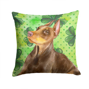 Buy this Doberman Pinscher St Patrick's Fabric Decorative Pillow BB9883PW1414