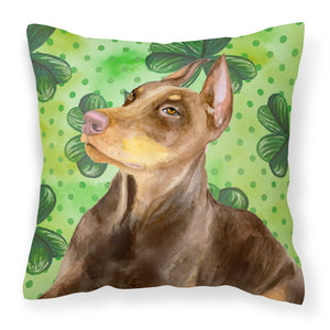 Buy this Doberman Pinscher St Patrick's Fabric Decorative Pillow BB9883PW1818