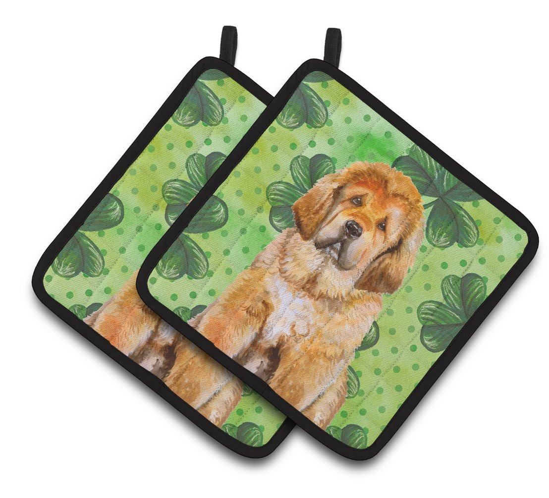 Buy this Tibetan Mastiff St Patrick's Pair of Pot Holders BB9895PTHD