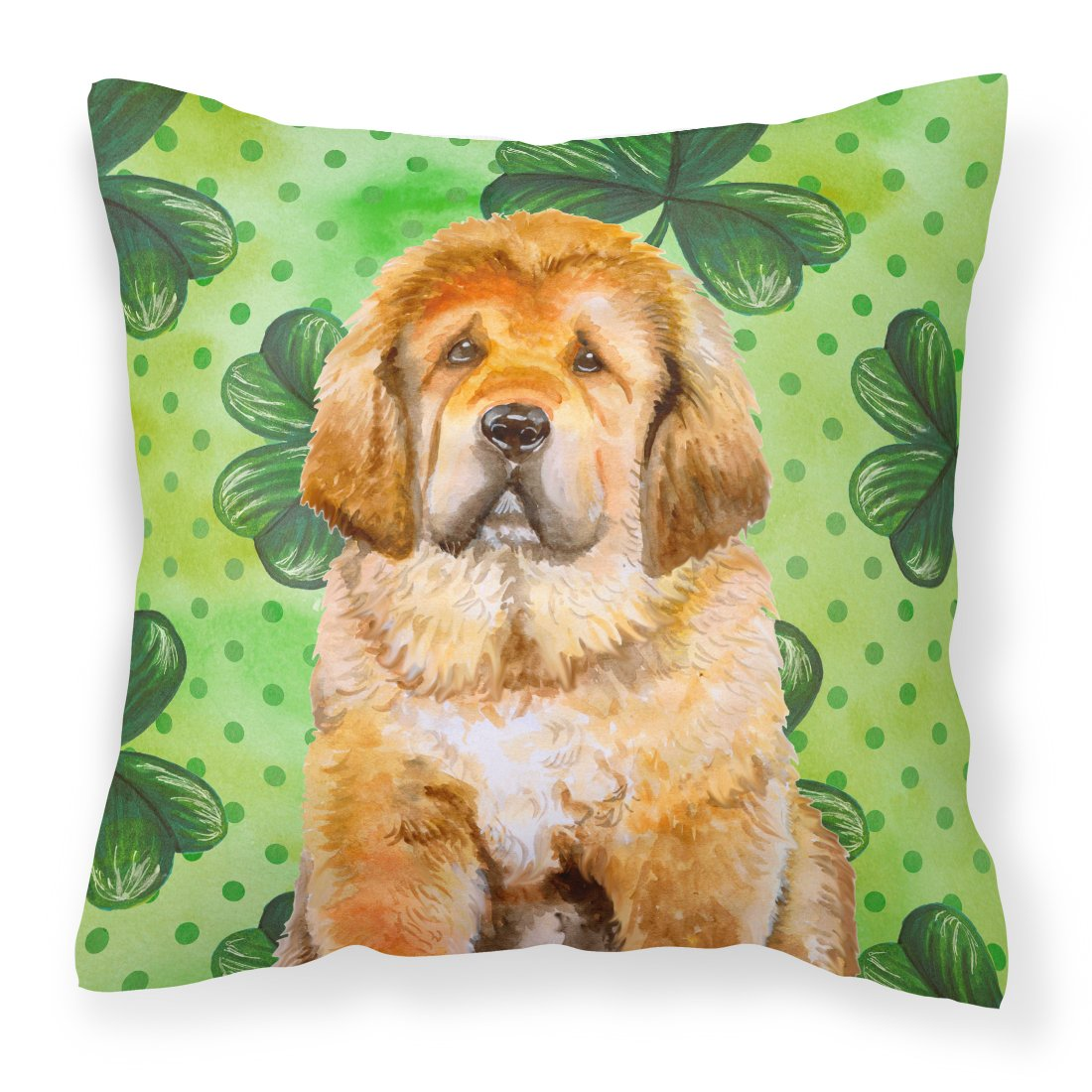 Tibetan Mastiff St Patrick's Fabric Decorative Pillow BB9895PW1818 by Caroline's Treasures
