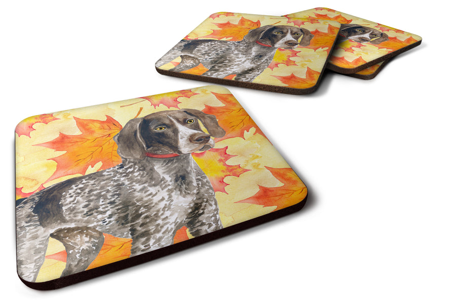 Buy this German Shorthaired Pointer Fall Foam Coaster Set of 4 BB9902FC