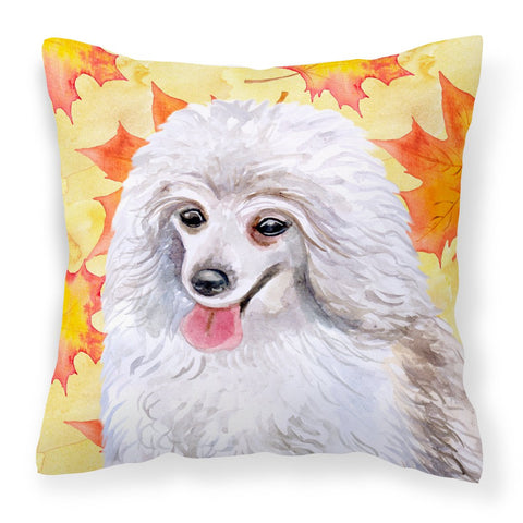 Buy this Medium White Poodle Fall Fabric Decorative Pillow BB9944PW1818