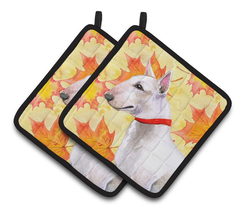 Buy this Bull Terrier Fall Pair of Pot Holders BB9954PTHD