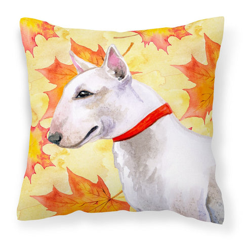 Buy this Bull Terrier Fall Fabric Decorative Pillow BB9954PW1818