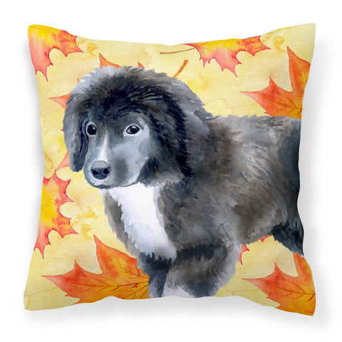 Buy this Newfoundland Puppy Fall Fabric Decorative Pillow BB9960PW1818