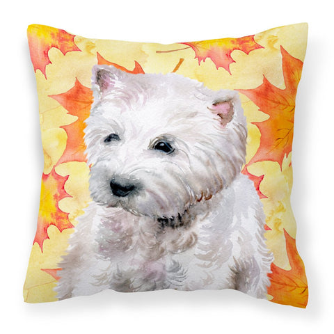 Buy this Westie Fall Fabric Decorative Pillow BB9962PW1818