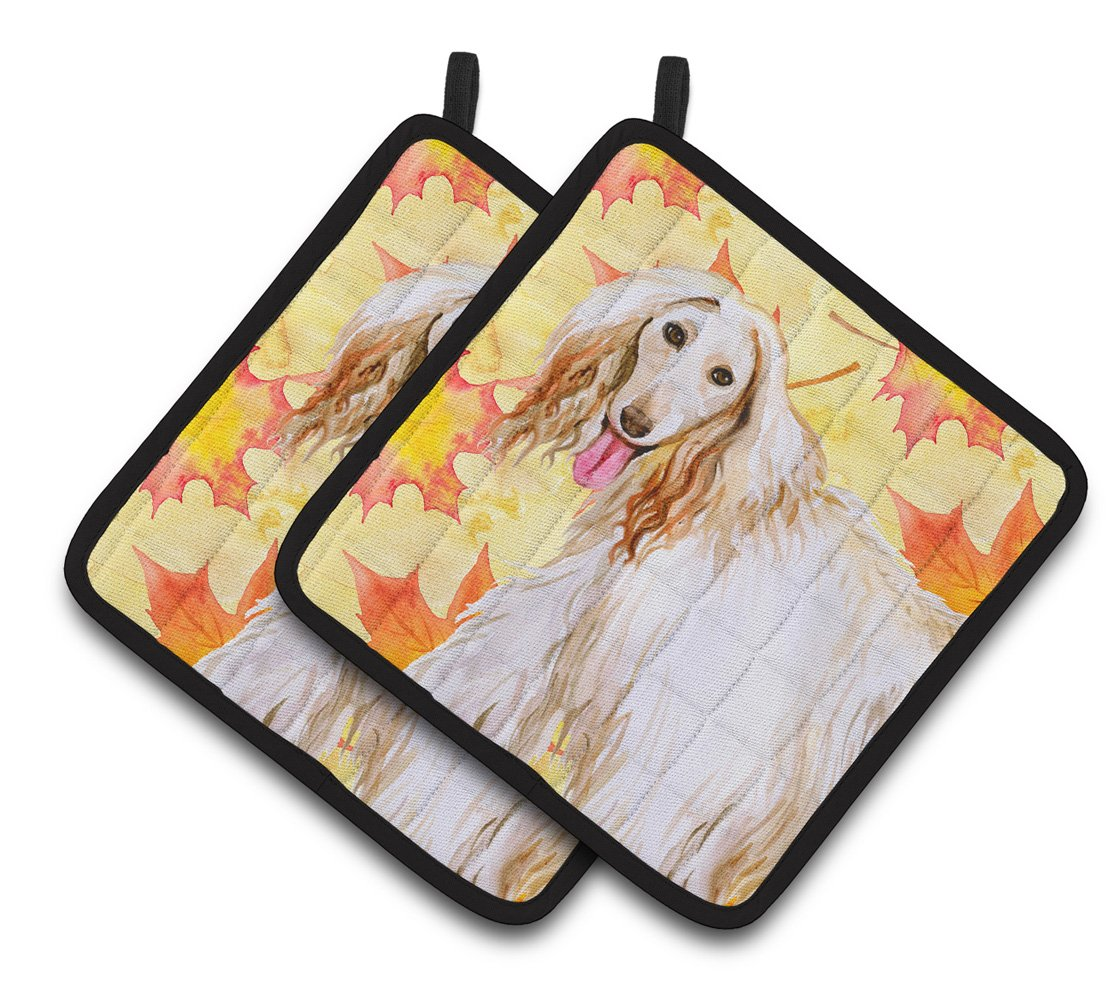 Afghan Hound Fall Pair of Pot Holders BB9963PTHD by Caroline's Treasures
