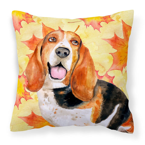 Buy this Basset Hound Fall Fabric Decorative Pillow BB9965PW1818