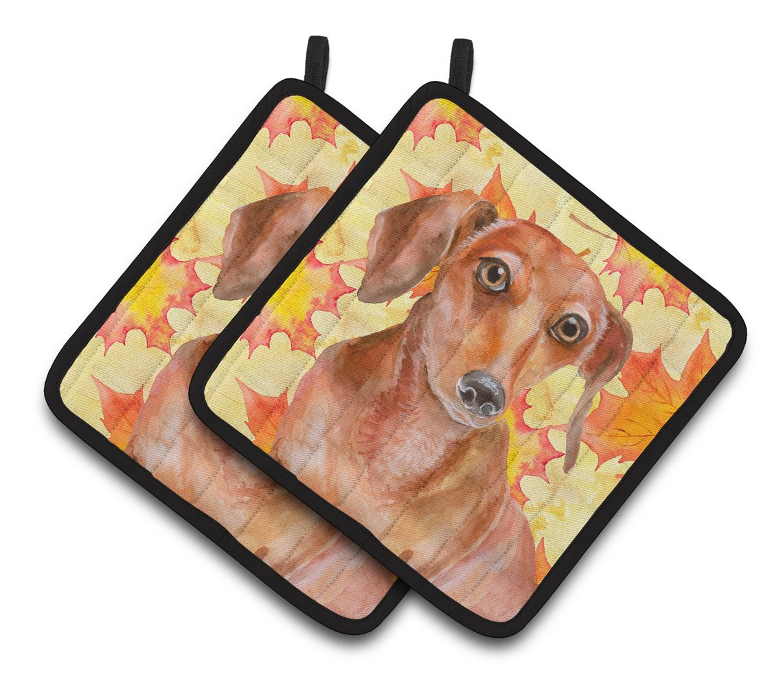 Red Dachshund Fall Pair of Pot Holders BB9968PTHD by Caroline's Treasures