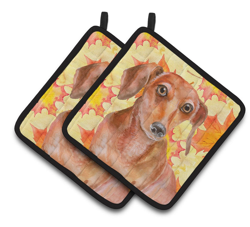 Buy this Red Dachshund Fall Pair of Pot Holders BB9968PTHD