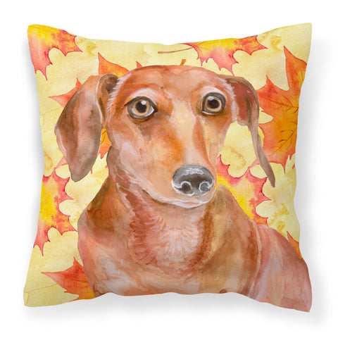 Buy this Red Dachshund Fall Fabric Decorative Pillow BB9968PW1818