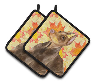 Buy this Doberman Pinscher Fall Pair of Pot Holders BB9970PTHD