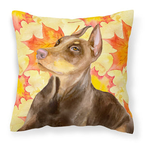 Buy this Doberman Pinscher Fall Fabric Decorative Pillow BB9970PW1818