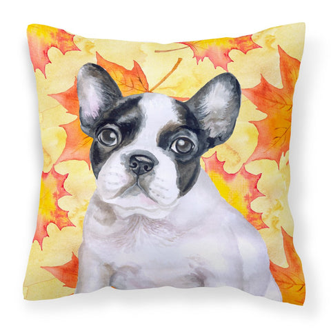 Buy this French Bulldog Black White Fall Fabric Decorative Pillow BB9971PW1818